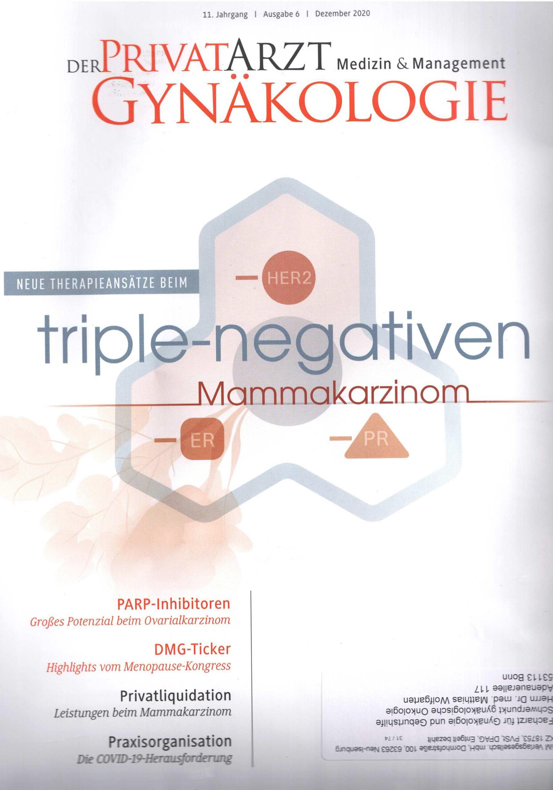 Der Privatarzt Gynäkologie Ausgabe 6 Dezember 2020 Deckblatt