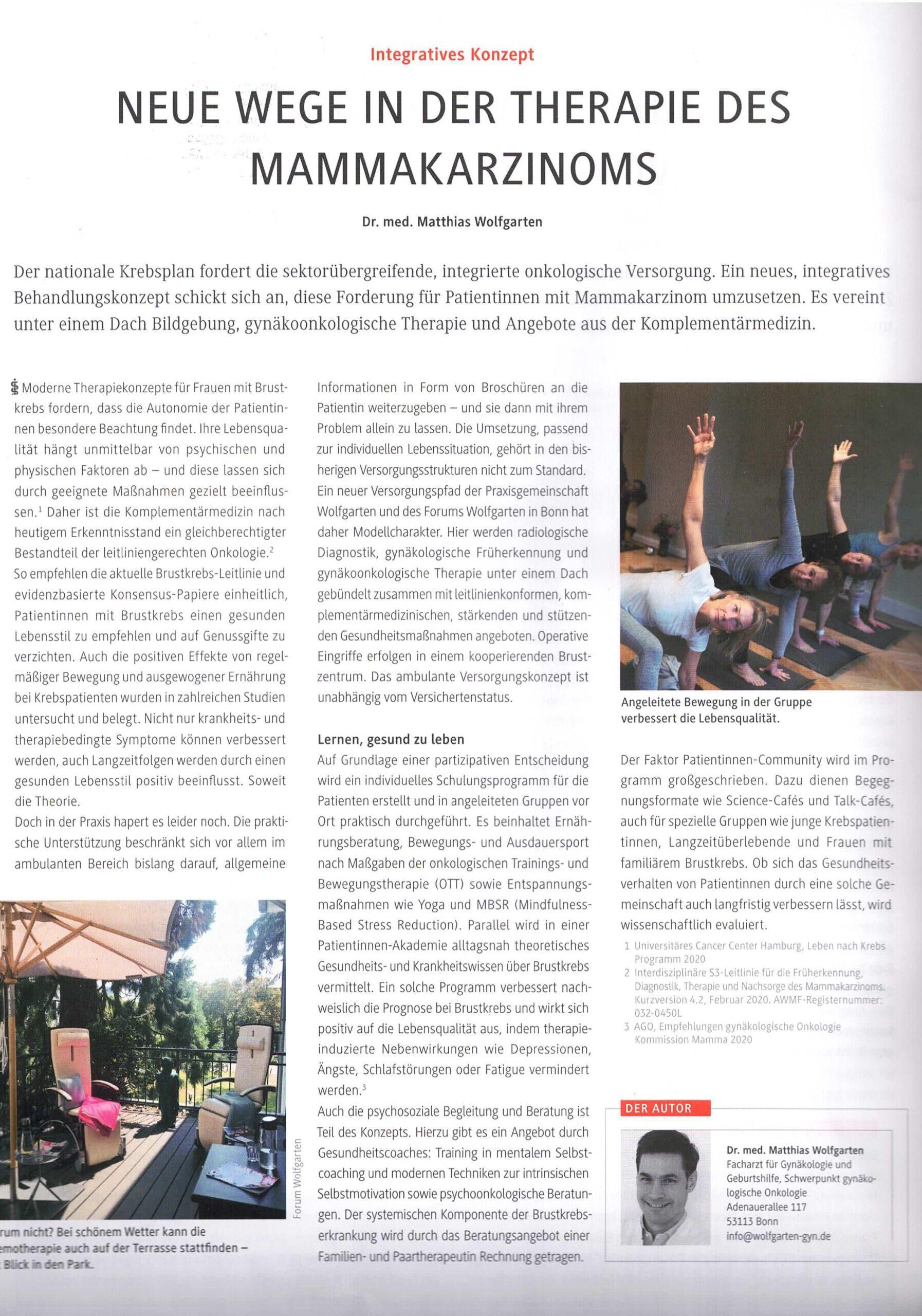 Der Privatarzt Gynäkologie Ausgabe 6 Dezember 2020 Artikel Integrative Konzept